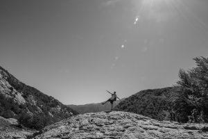 Denni GR20 noir et blanc, montagnes, Corse