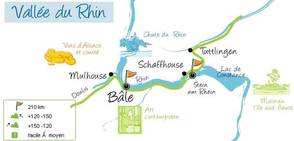 Parcours de l'Eurovélo 6 en Suisse
