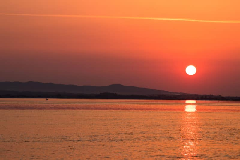 coucher de soleil, Danube, Coronini