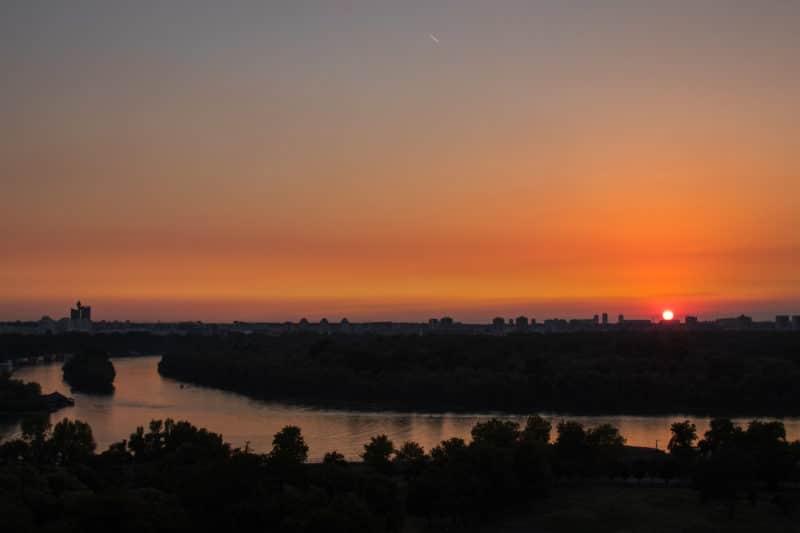 Belgrade, coucher de soleil