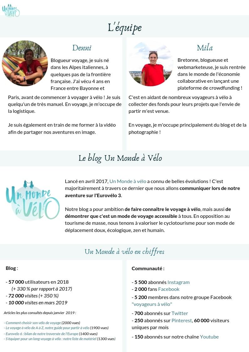 Dossier de sponsoring - page 3 - Un Monde à vélo