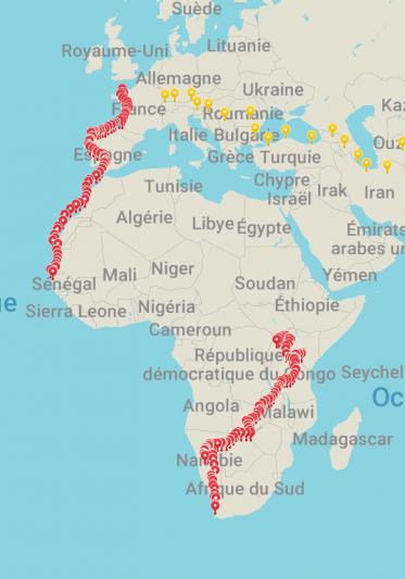 Itinéraire depuis le départ vers l'Afrique du Sud