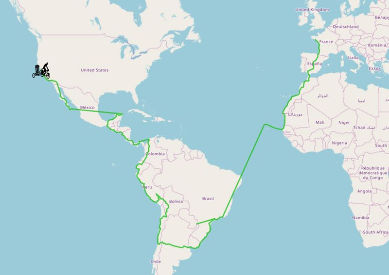 Carte de l'itinéraire Cycleantrip
